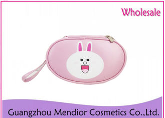 Cartoon Cute Rose Gold Makeup Bag , Rabbit Shaped PU Travel Beauty Bag
