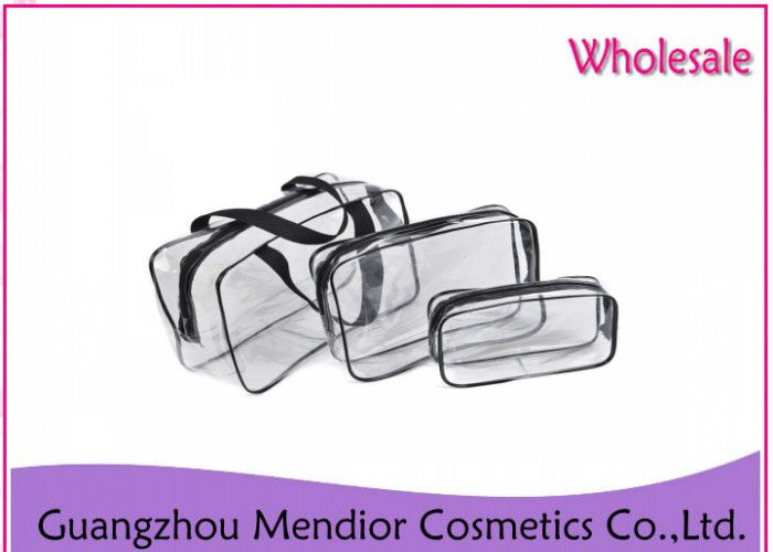 Seal Nylon Zipper Makeup Accessories Bag Transparent PVC Cosmetic Bag Set