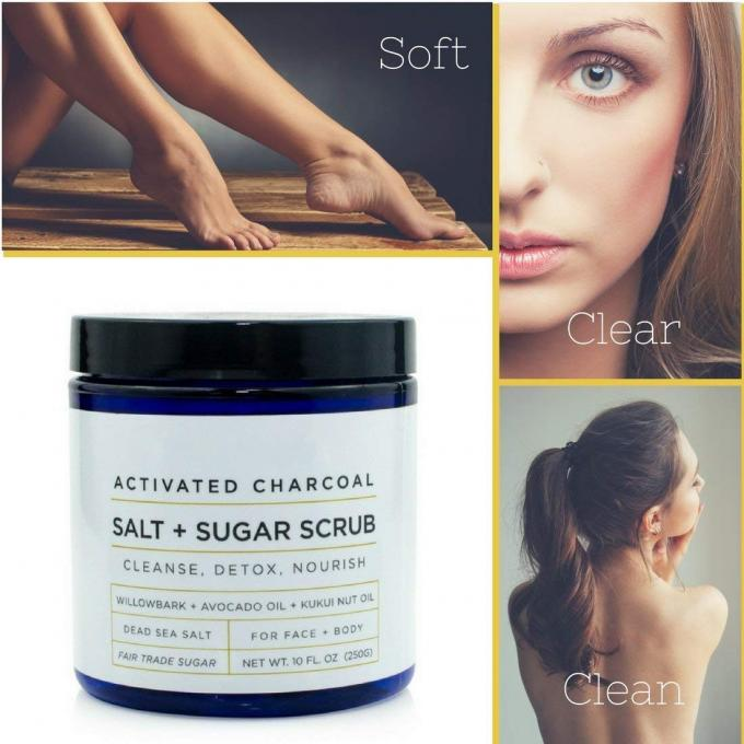Activated Charcoal Essential Oil Body Scrub , Deep Cleansing Strong Body Scrub